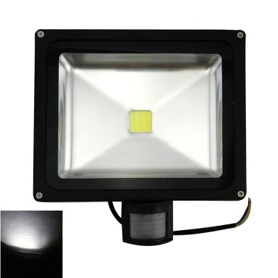 Waterproof PIR Motion Detective Sensor Induction 30W 2500lm 6500K LED Flood Light - Black (85~260V)