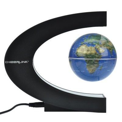 CHEERLINK High-Grade Gift 8.5cm Rotation Magnetic Levitation Globe - Black + Blue
