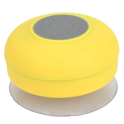 BTS-06 Portable Rechargeable Water Resistant Bluetooth Speaker w/ Microphone - Yellow