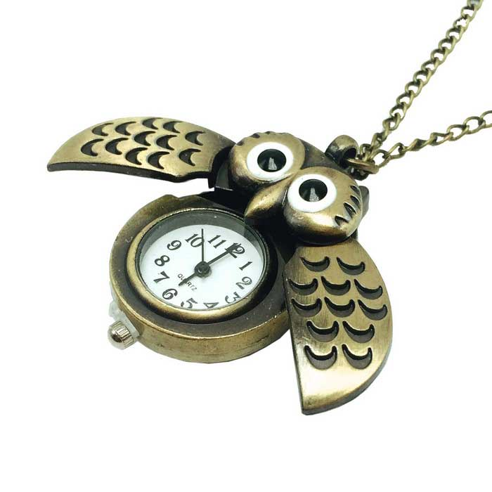 Cute Owl Style Analogue Quartz Zinc Alloy Pocket Watch w/ Neckchain - Bronze (1 x 626)