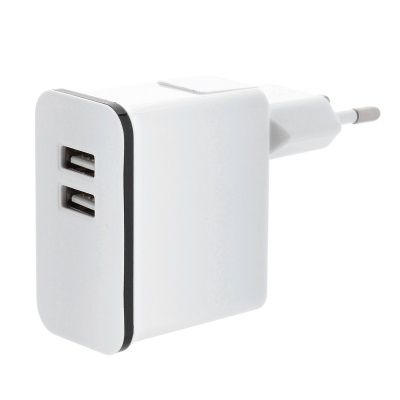 Detachable AC Charging Adapter Charger w/ Dual USB Output for Iphone / Ipad - White (EU Plug)