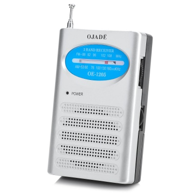 OJADE OE-1205 FM/AM Radio Receiver - Silver + Blue + Black