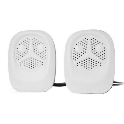 5W Portable USB Speaker - White + Black (2PCS)