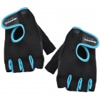 Outdoor Sports Fitness Half Fingers Gloves - Black + Blue (Pair)
