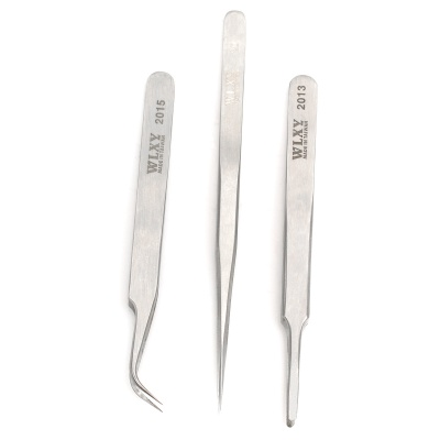 WLXY 20A3PC Steel Slender Pointed / Flat Head / Curved Pointed Tweezers Set
