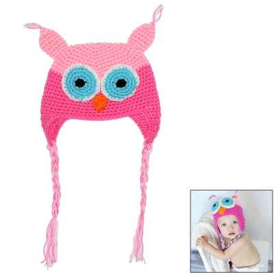 Baby Girl's Comfy Cute Cartoon Owl Style Hand Knitted Warm Gorro Hat - Multicolored