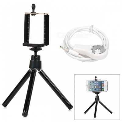 Camera Shutter Release Cable w/ Holder + TrIpod for Iphone / Ipad / Ipod + More - White + Black