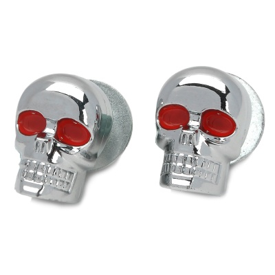 Skull Style DIY Screw for Harley Motorcycle - Silver + Red (2PCS)
