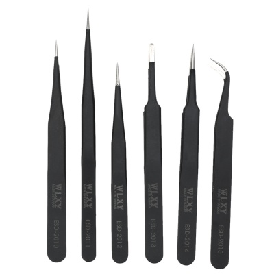 WLXY WL-ESD6PC Durable Steel Tweezers Set - Black (6 PCS)