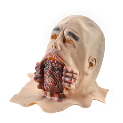 Halloween Natural Rubber Bald Ghost Mask - Red + White