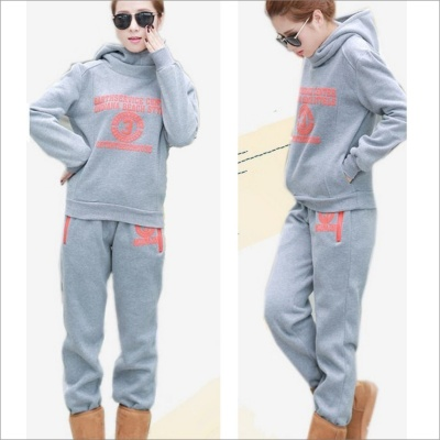 Fleece Thickened Casual Hooded Sweater + Vest + Pants Set- Grey (Size L)