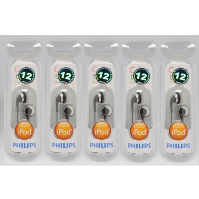Philips SHE2640 In-Ear Headphones for Ipod Color Earbuds (5 PCS)