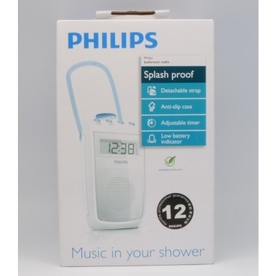 Philips AE2330/00 Bathroom Splashproof Clock Radio 3X AA Battery Operated