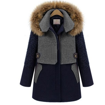 Fashion Tweed Medium Style Coat - Deep Blue + Grey (M size)