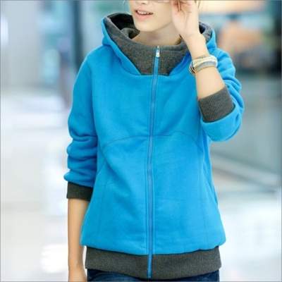 HY2416 New Winter Women's Thicken Zipper Hooded Fleece Jacket - Blue (Size-XL)