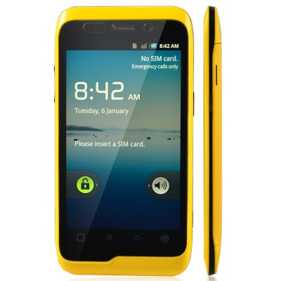 "K-Touch W700 Alyun OS WCDMA Bar Phone w/ 3.8"" Capacitive Screen, Wi-Fi, 8GB ROM and GPS - Yellow"
