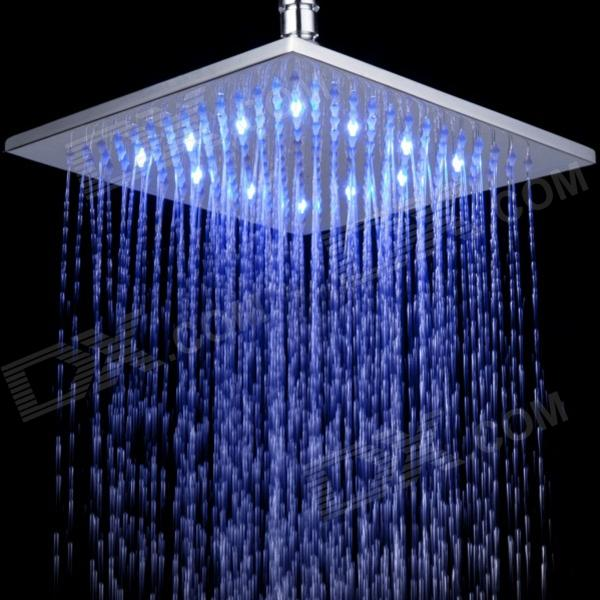"""10"""" Temperature Visualizer 12-LED RGB Color Changing Brass Square Top Shower Head - Silver"""