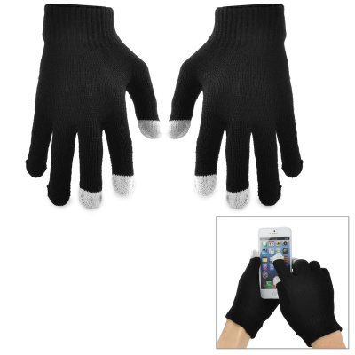 Stylish Touch Screen Warm Gloves - Black (Pair)