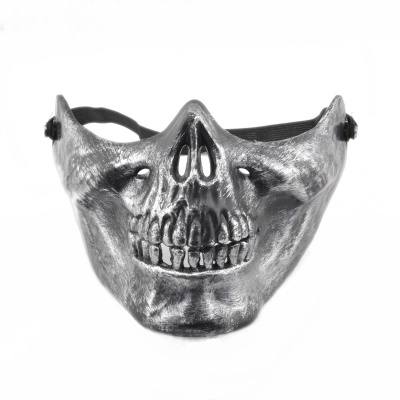 Skull Style Half Face Mask - Antique Silver