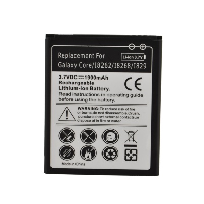 "Replacement 3.7V ""1900mAh"" Battery for Samsung Galaxy Core / I8262 / I8268 / I829 - Black + White"
