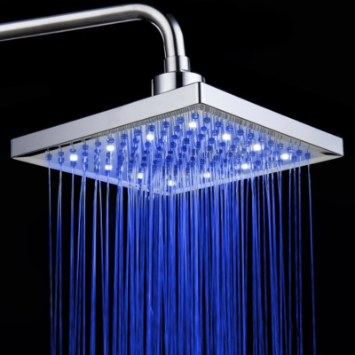 12 inch ABS 12-LED RGB Color Changing Square Top Shower Head - Silver