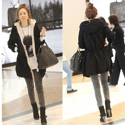 Woman's Fashionable Warm Cotton Coat w/ Cap - Black