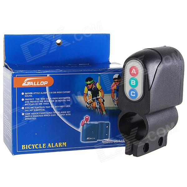 Vibration Activated 110dB Bicycle Alarm with Password Keypad - Black