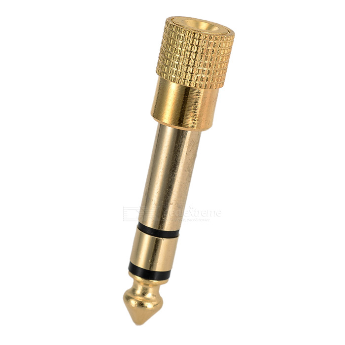 Gold Plated 6.35mm Male to 3.5mm Female Mic Plug Convertor - Golden