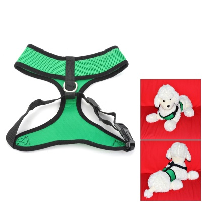 Mesh Fabric Chest / Back Belt for Pet Dog - Grass Green + Black (Size L)