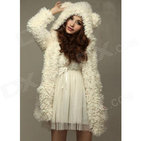 Fashion Bear Ear Cap Plush Coat for Women - Beige