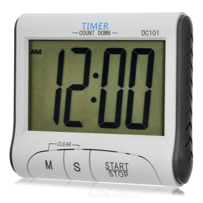 DC101 Kitchen ABS Timer Clock w/ Stand - White