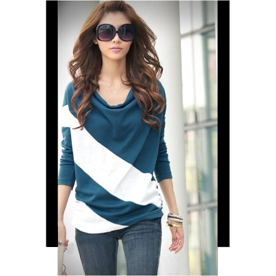 Fashion All-Match Long Sleeve T Shirt - Blue + White (Size XL)