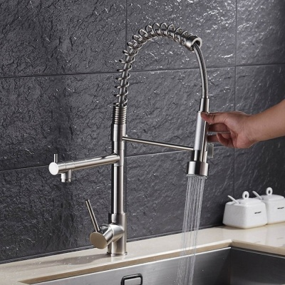 YDL-F-0528 Contemporary High-Pressure Nickel Brushed Kitchen Faucet - Silver