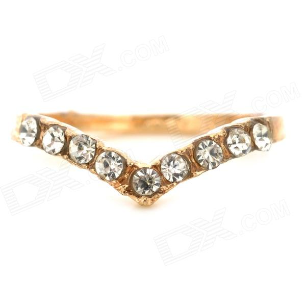 Stylish Gold-plated Alloy w/ Rhinestones Ring for Women - Golden