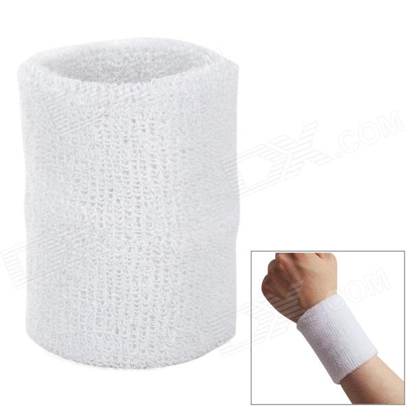 Outdoor Sports Cotton Wrist Band for Badminton / Football / Basketball - White