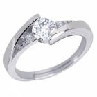 DJ936 Platinum Plated Rhinestone Women's Ring - Silver (US Size 7)