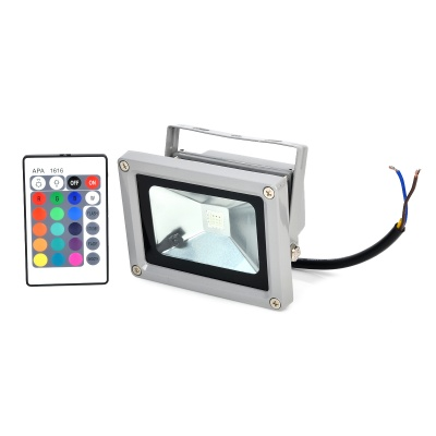 Outdoor 10W 40lm 1-LED Red / Yellow / Blue Light Spotlight - Grey + Black