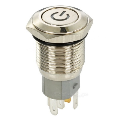 16mm Stainless Steel Red Light Push Button Switch - Silver