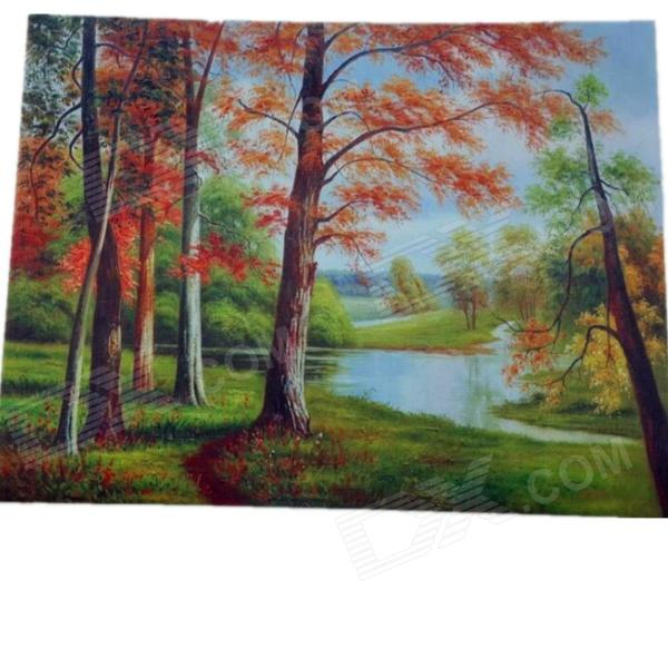 Red Leaves Woods Pattern Decorative Linen Landscape Oil Painting