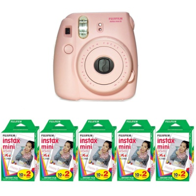 Genuine Fujifilm Instax Mini - Pink (Instant Film) + 5 Box Fuji Film (10 sheets per pack x 2 packs)