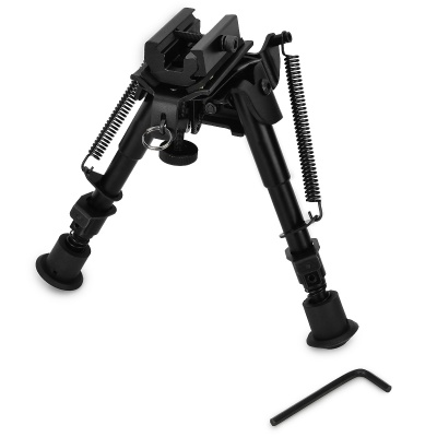 "6"" Aluminum Alloy Tactical Bipod w/ Extendable Leg for Guns - Black"