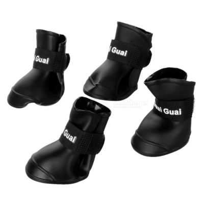 Anti-skid Pet Dog Rain Shoes - Black (Size L / 4 PCS)
