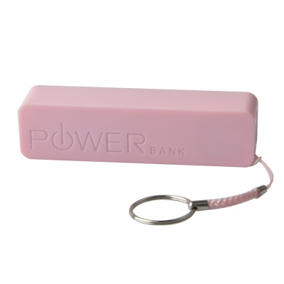 Portable 1500mAh Mobile Power Bank w/ Hanging Ring / Charging Cable - Pink