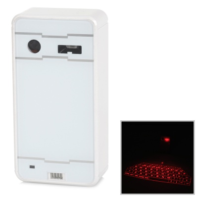 LY-XNJP-BAISE Wired Bluetooth V2.0 Laser Projection 61-Key Keyboard for IPHONE / IPOD + More - White