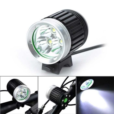 Marsing 4-Mode 3-LED Cold White Bike Light/Headlamp - Black (4*18650)