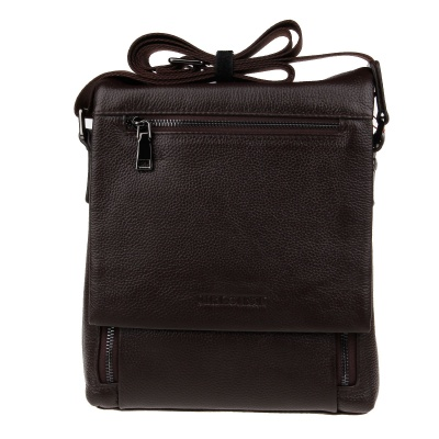 HRLONSI 28801A Fashion Head Layer Cowhide High-Grade Men's Magnetic Cover Business Bag - Coffee