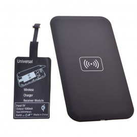 Reverse QI Wireless Charger Pad + Wireless Charger Receiver - Black