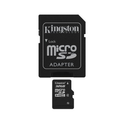 Kingston SDC4/32GB 32GB microSDHC Flash Memory Card with SD Adapter