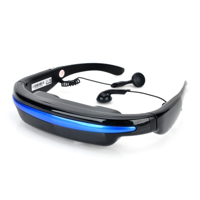 "GM52 Digital Rechargeable Video Glasses w/ 52"" Virtual Screen - Black + Blue (4GB)"