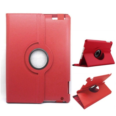Protective PU Leather 360 Degree Rotation Case for IPAD 2/3/4 - Red